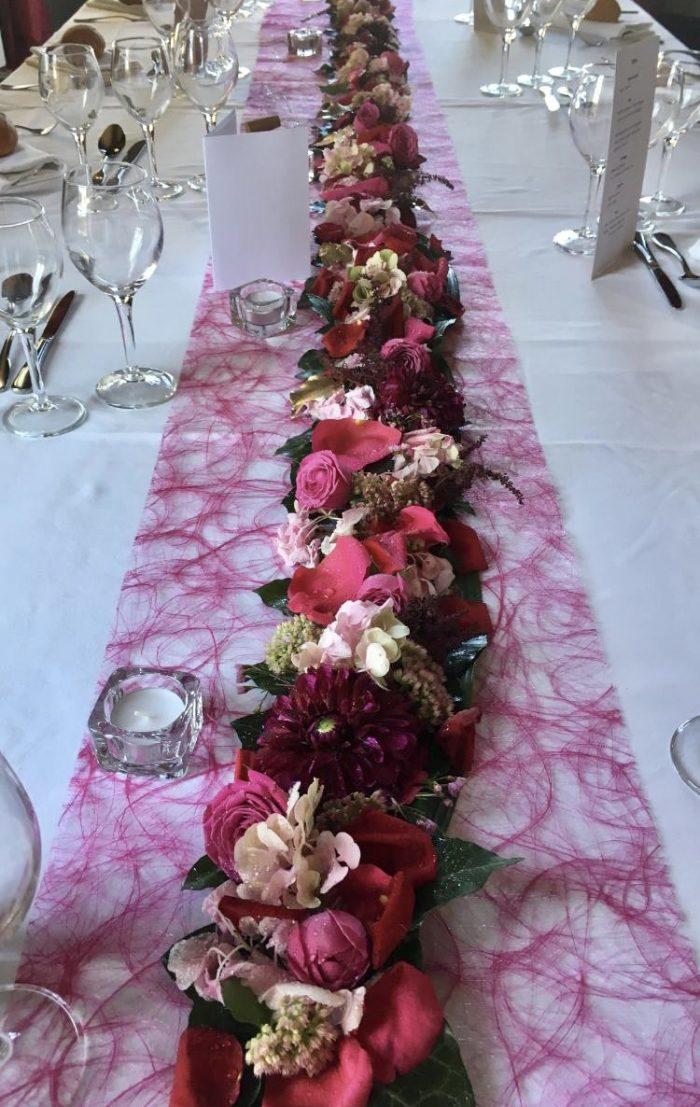 chemin de table mariage fleuriste Saint Cloud le Chapelin Fretz
